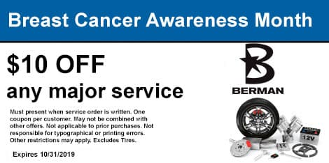 Breast Cancer Awareness Month: $10 OFF any major service