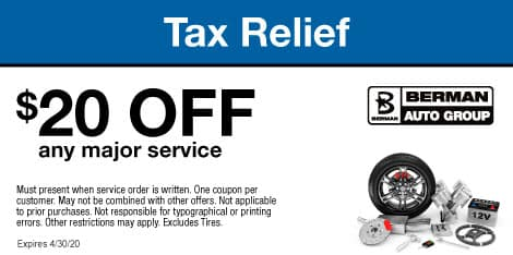 Tax Relief Special: $20 off any major service