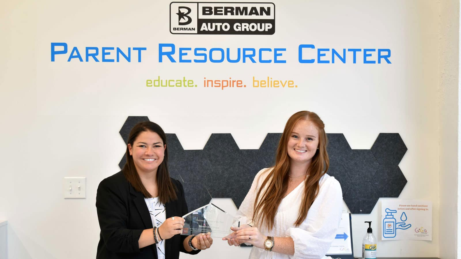 Berman Auto Group's Leah Garcia met with the GiGi's team to receive the award