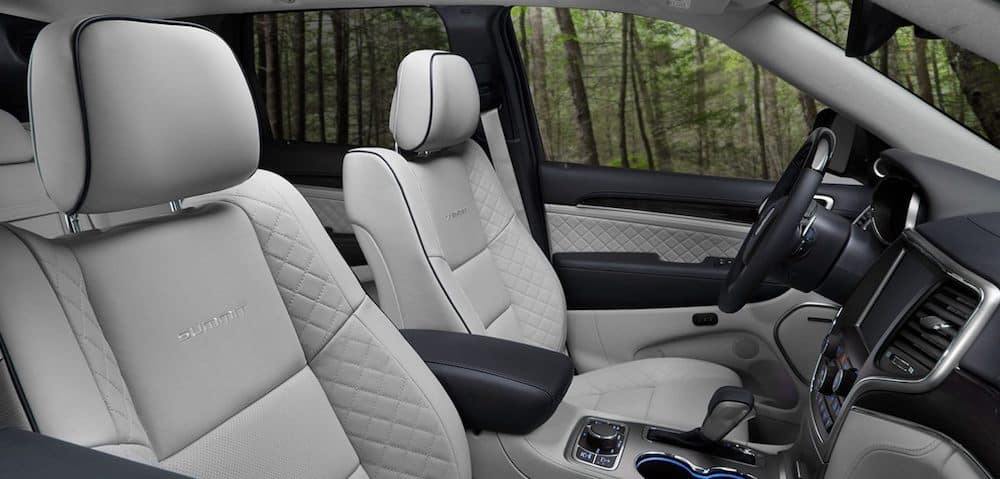 Spacious interior of a 2020 Jeep Grand Cherokee with leather seats