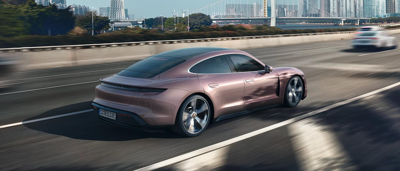 2021 Porsche Taycan driving on the highway