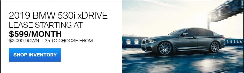 2019 BMW 530i driving on a bridge