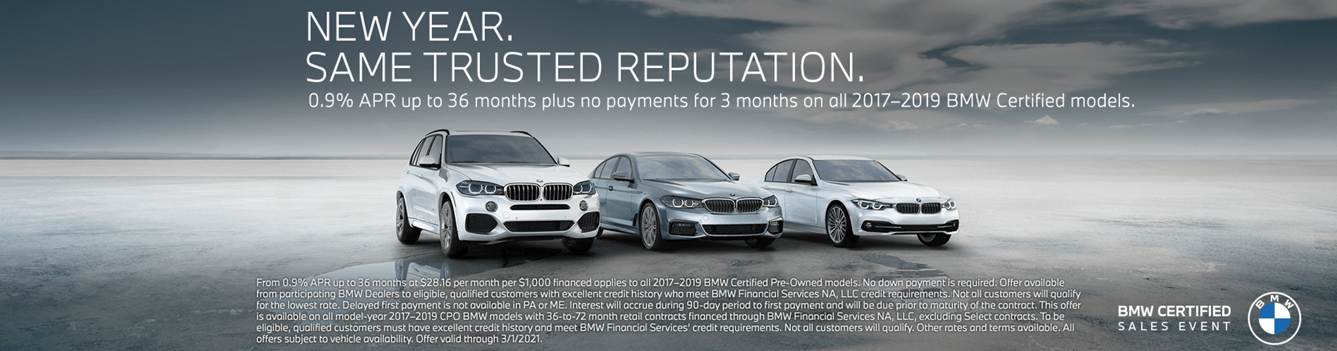 0.9% APR for 36 months plus no payments for 3 months