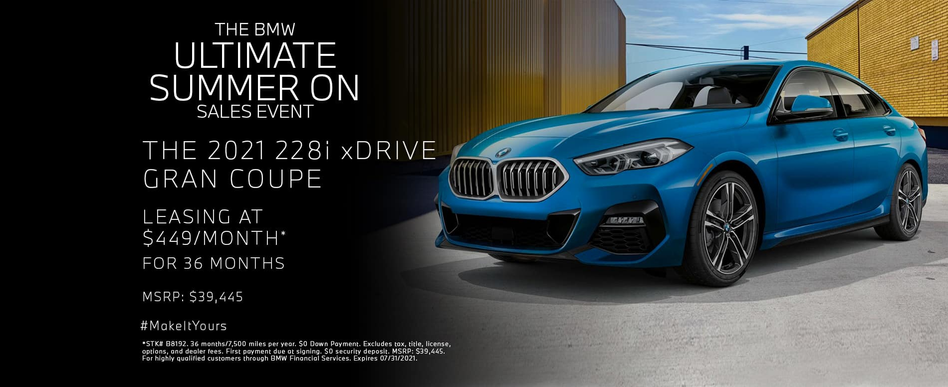 Lease a new 2021 228i xDRIVE GRAN COUPE for $449/mo