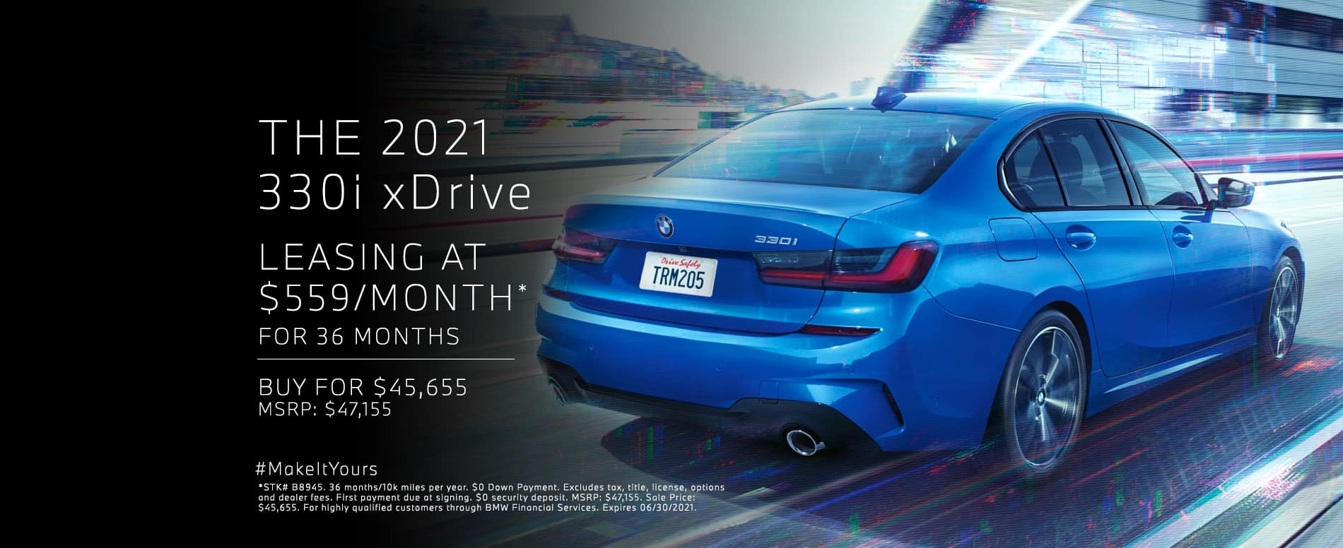 Lease a new 2021 330i xDrive for $559 per month. See dealer for details.