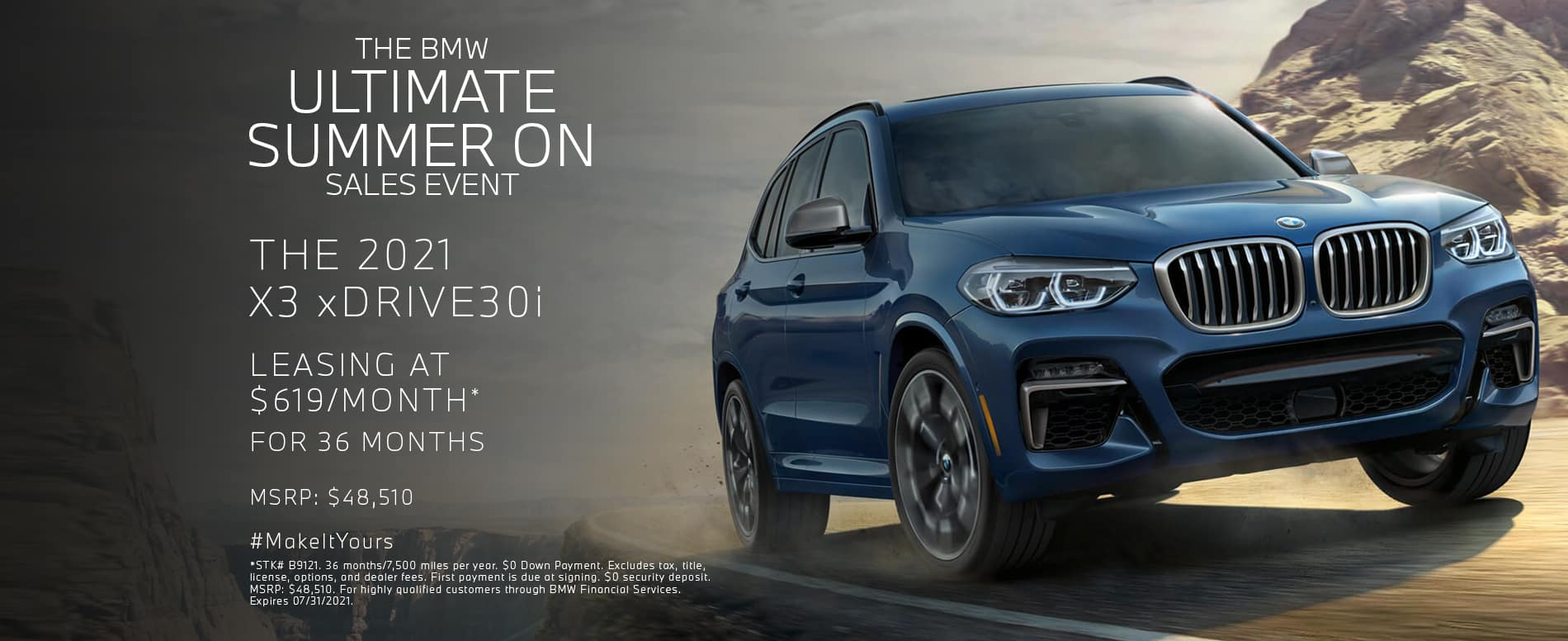 Lease a new X3 xDrive30i for $619/mo.