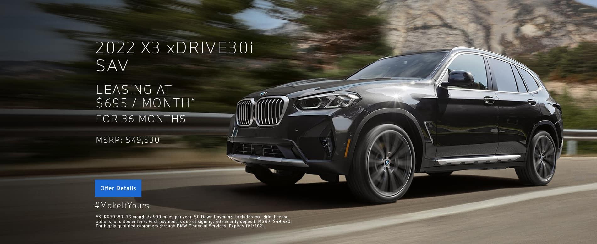 New 2022 BMW X3 xDRIVE30i Lease | BMW Minnetonka