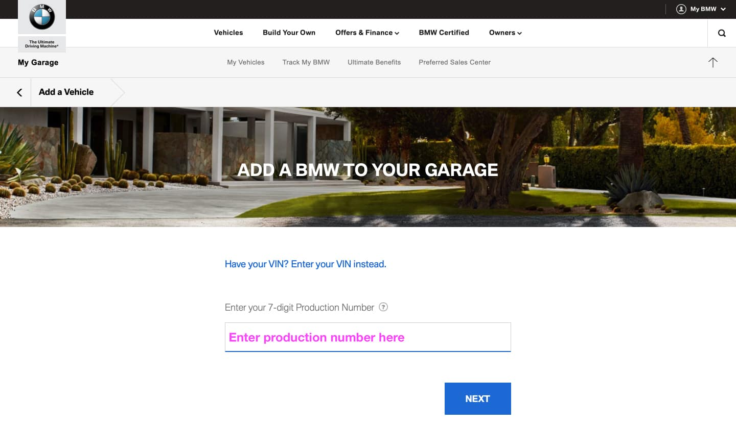 Adding Your BMW for Tracking