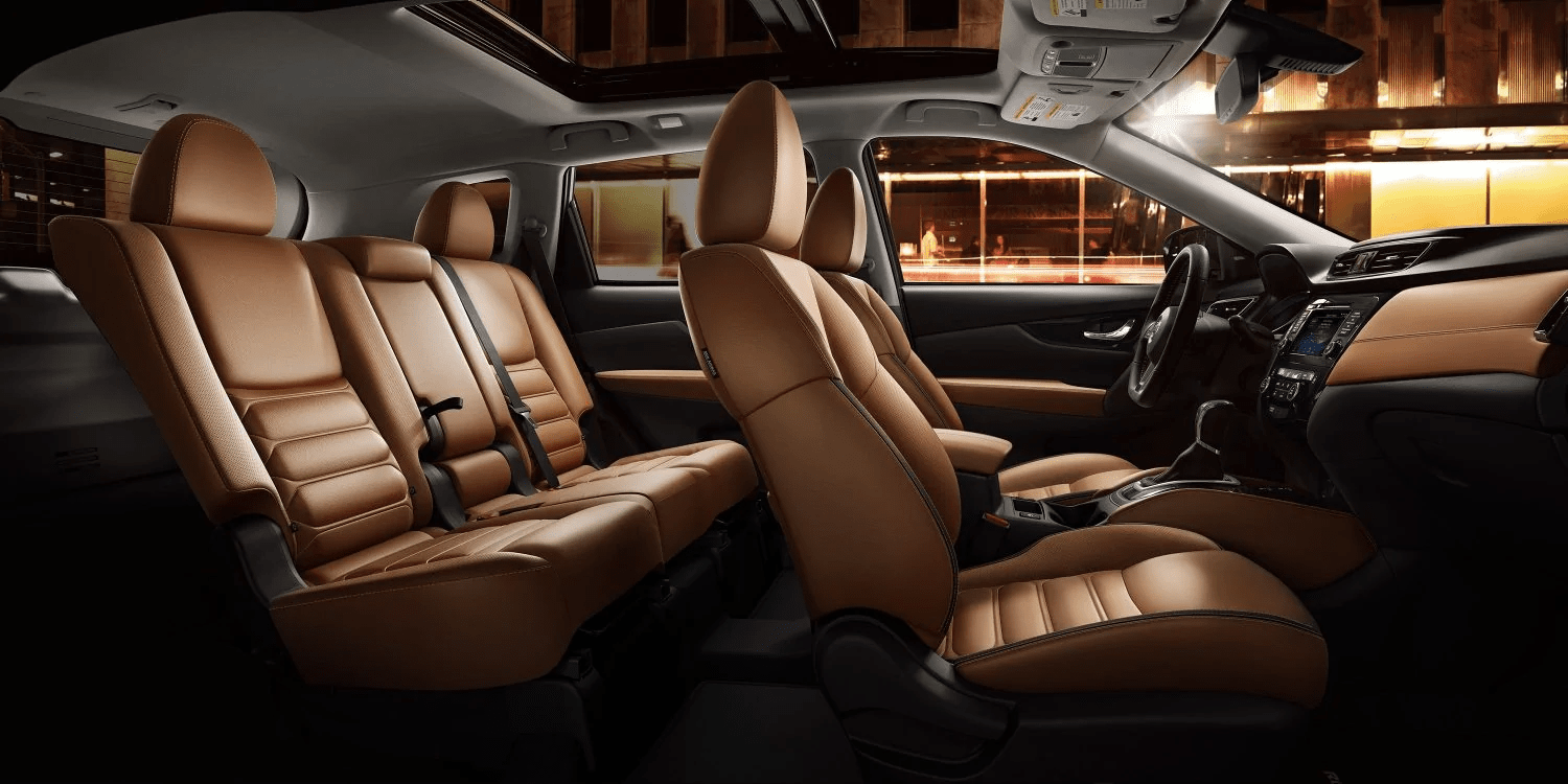 2019 Nissan Rogue interior in caramel