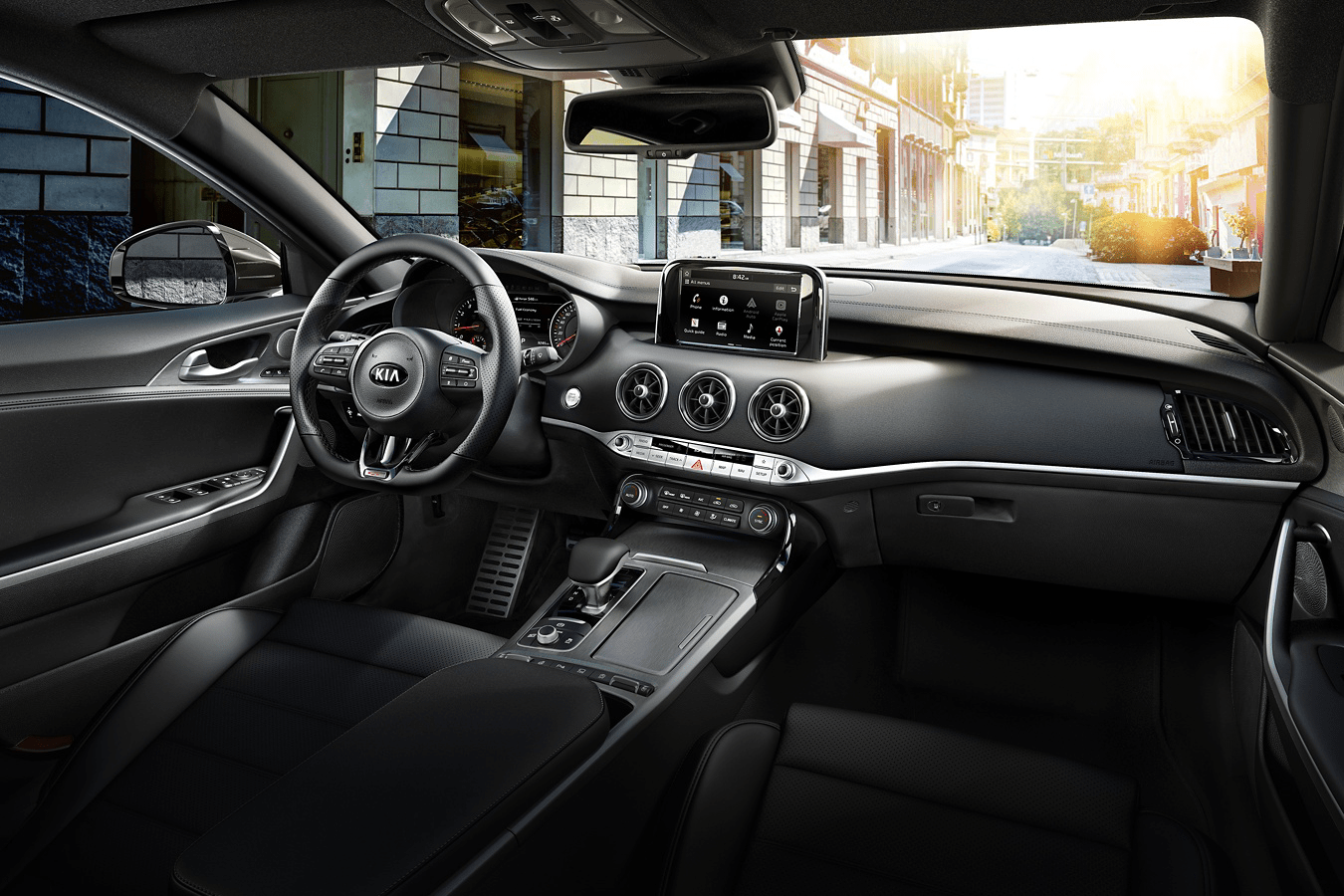 2019 Kia Stinger interior in black leather