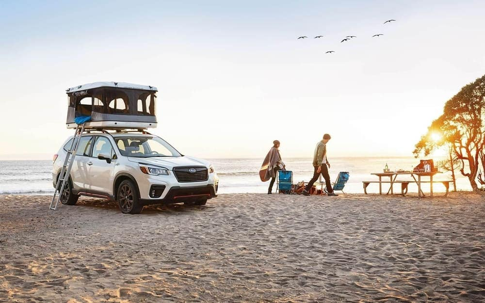 2020 Subaru Forester parked on beach