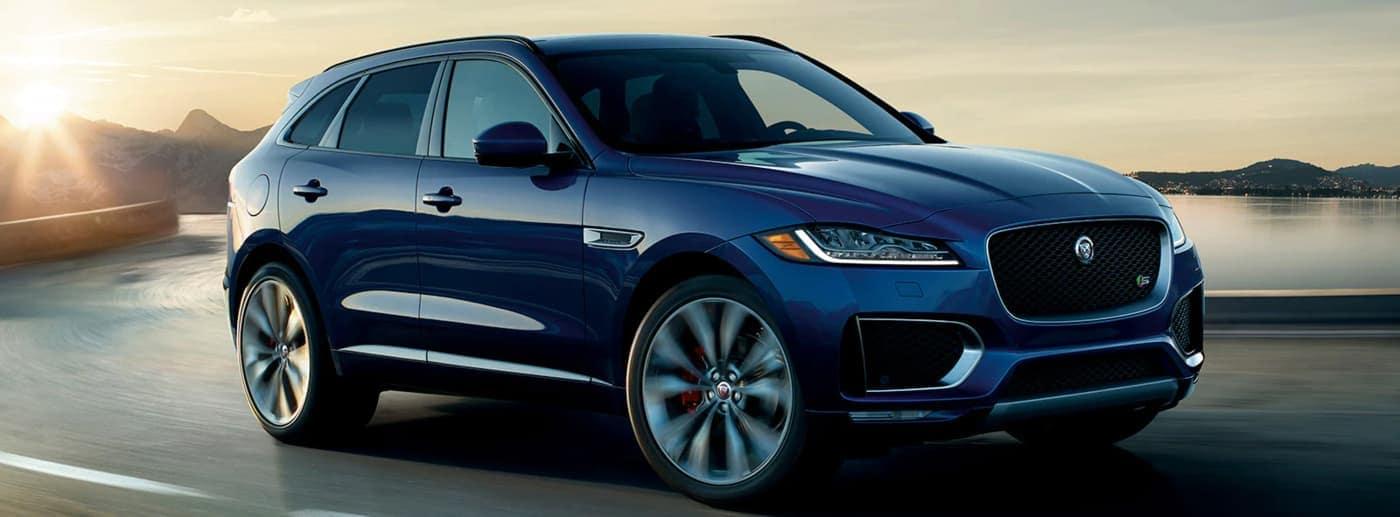 2020 Jaguar F-PACE with blue exterior