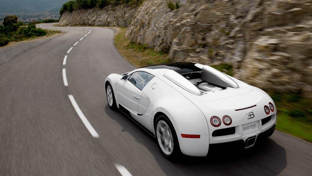 Bugatti Veyron Driving Around Curve