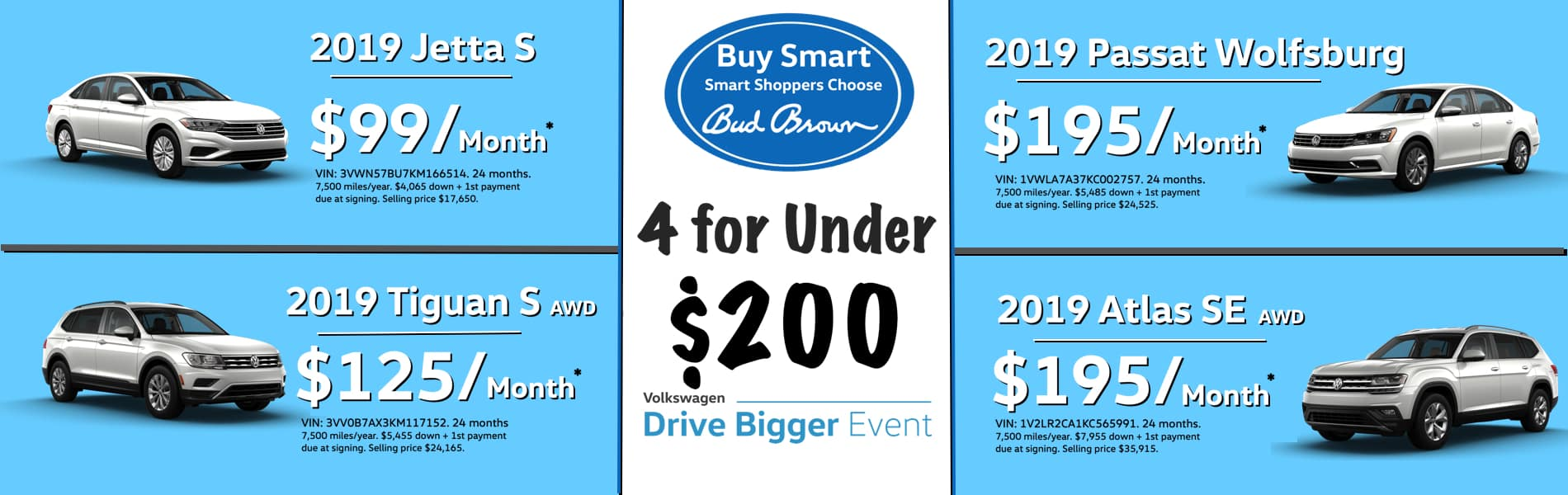 4 new VW models under $200 per month at Bud Brown VW