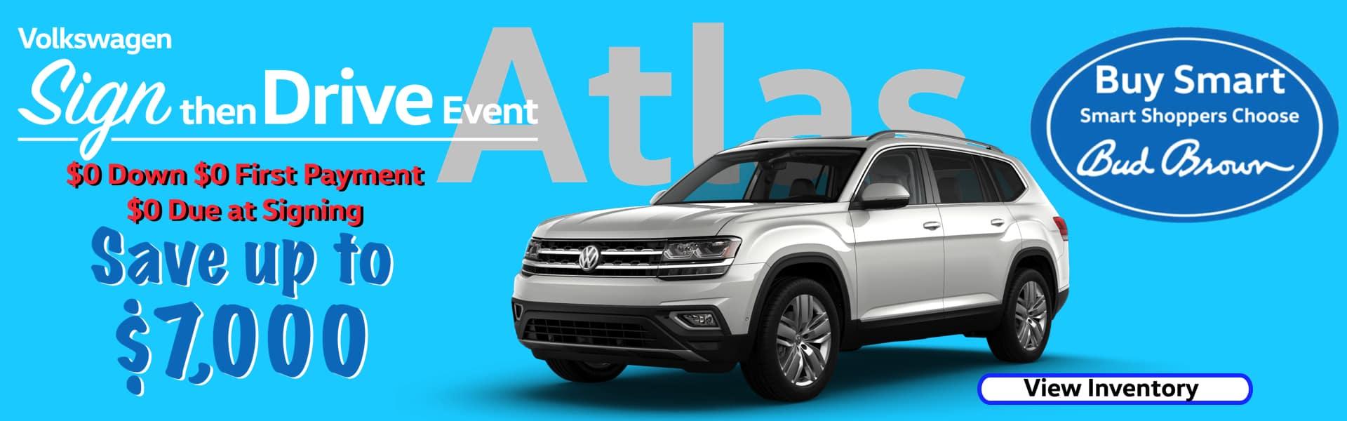 Save $7,000 on new Atlas at Bud Brown VW