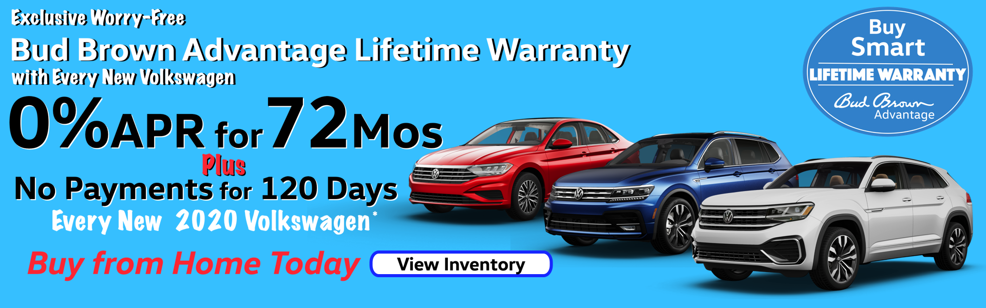 0%APR for 72 Months on every New 2020 VW