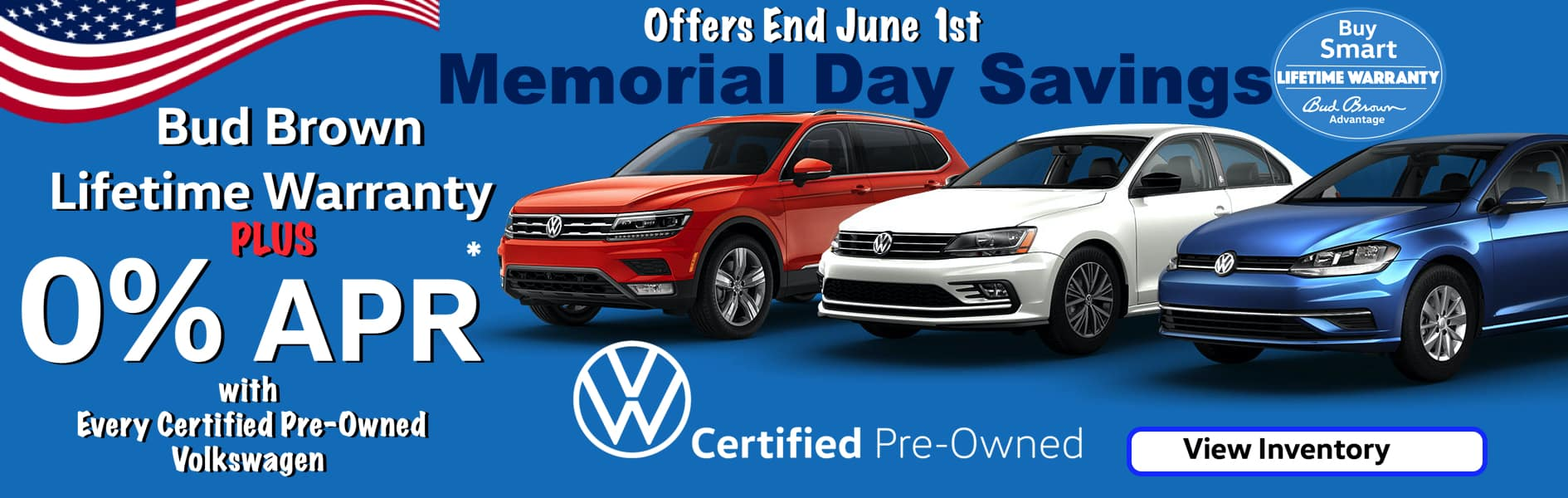 0% APR plus Bud Brown Lifetime Warranty on every Certified Pre-Owned Volkswagen