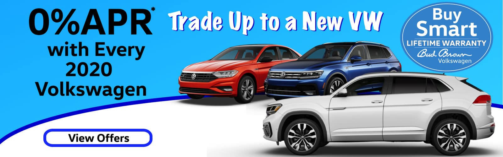0% APR plus Bud Brown Lifetime Warranty on every new 2020 Volkswagen.