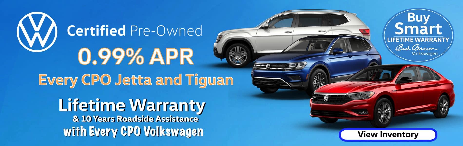 0.99% APR every CPO Tiguan & Jetta