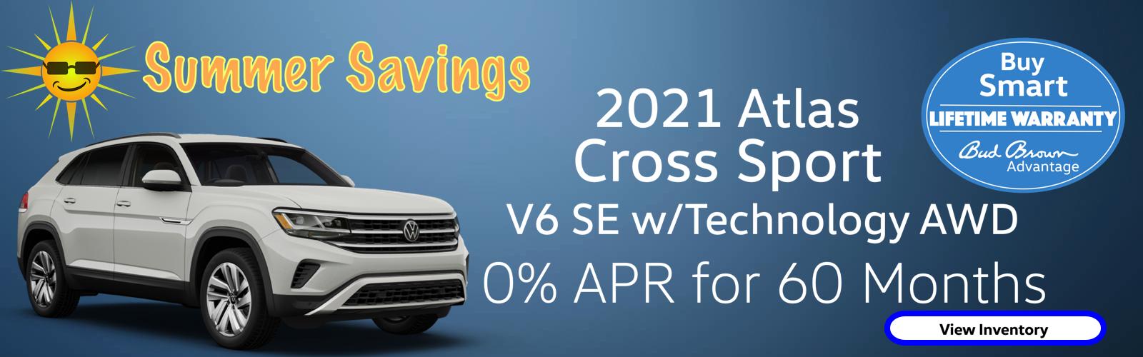0% APR plus Bud Brown Lifetime Warranty on every new Atlas Cross Sport
