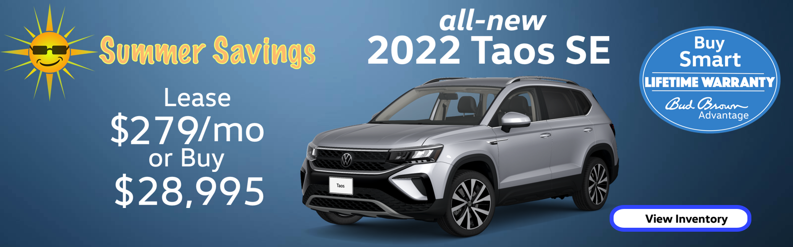 all-new 2022 VW Taos SE SUV for $279 per month