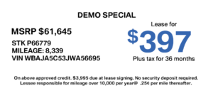 factory demo lease special