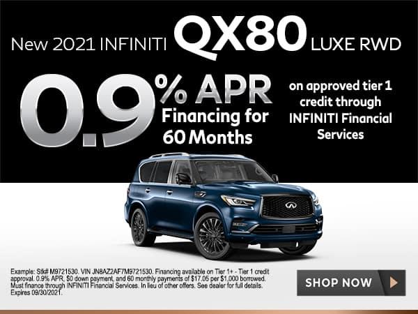 <!-- Select New 2021 INFINITI QX80 Models -->