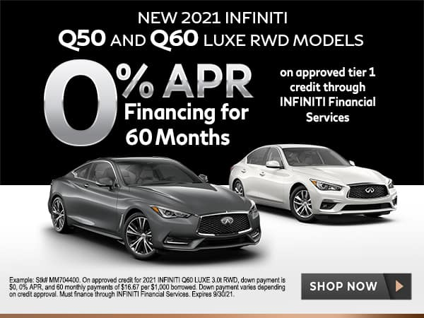 <!-- New 2021 INFINITI Q50 & Q60 LUXE RWD Models -->