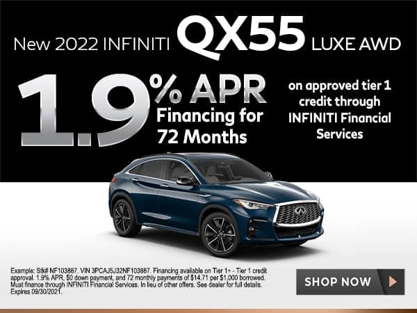 <!-- Select New 2022 INFINITI QX55 Models -->