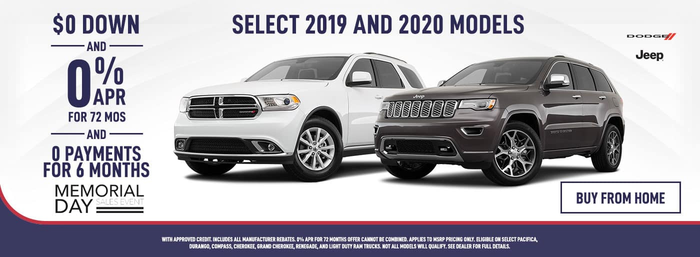 $0 Down and 0% APR for 6 Months on Dodge & Jeep