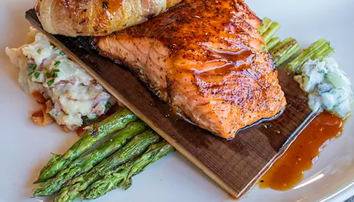 Salmon and asparagus dish at Market Broiler