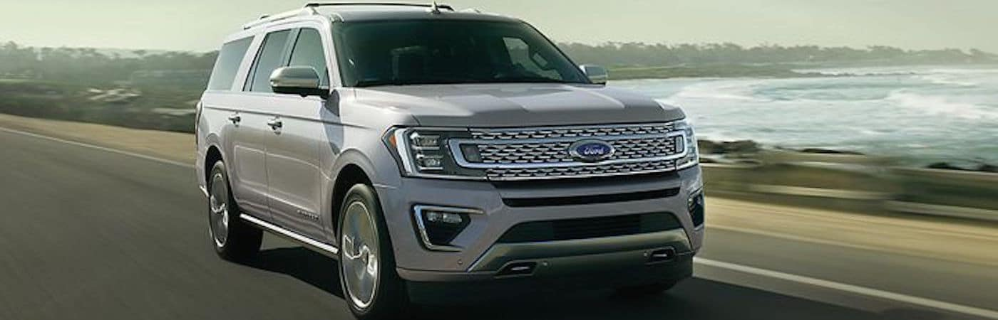 2019 Ford Expedition Platinum driving on highway en route to Ontario, CA