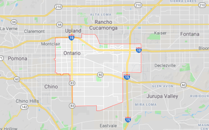 Map of Ontario, California from Google Maps