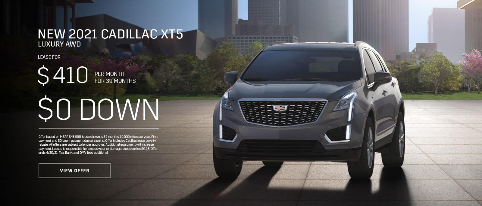 New 2021 Cadillac XT5 Lux AWD Subtext: $410/month for 39 months, $0 DOWN
