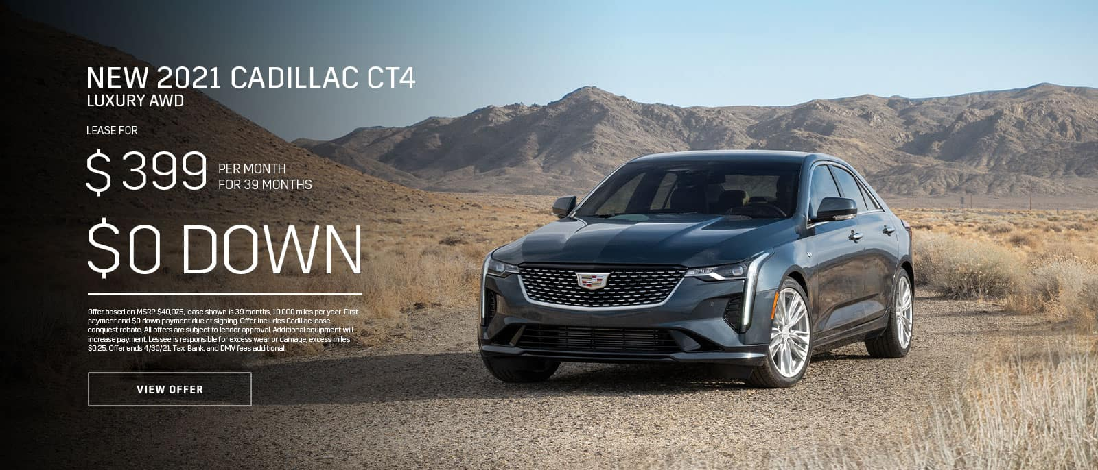 New 2021 Cadillac CT4 Lux AWD Subtext: $399/month for 39 months, $0 DOWN