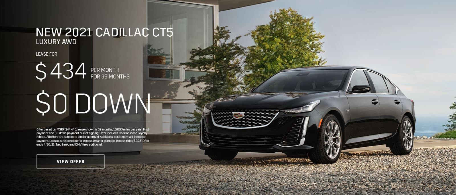 New 2021 Cadillac CT5 Lux AWD Subtext: $434/month for 39 months, $0 DOWN