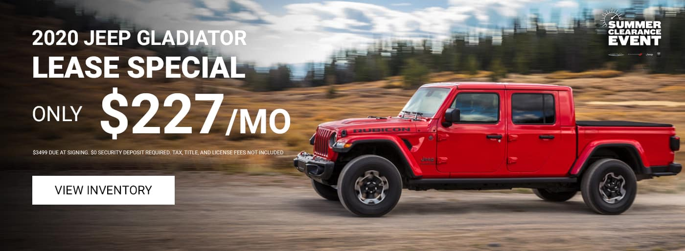 Jeep Gladiator 227 per month lease