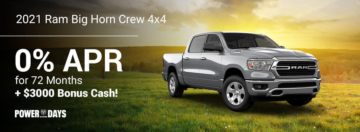 •2021 Ram Big HOrn Crew 4 x 4 available 0% for 72 Months + $3000 Bonus Cash