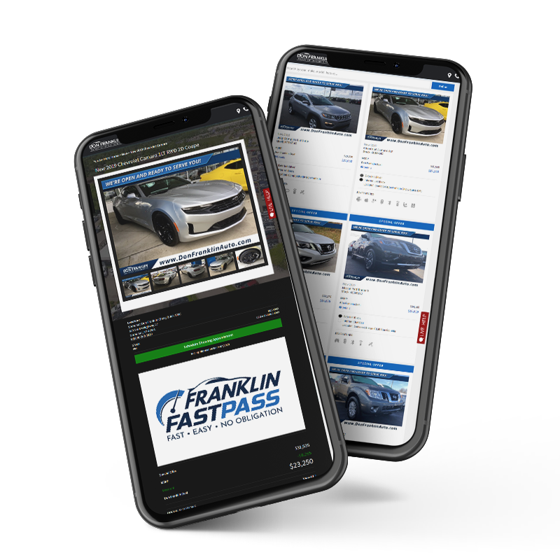 2 smartphones displaying website and Franklin Fast Pass imagery,