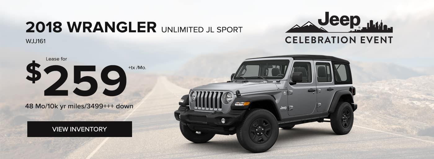 2018 Jeep Wrangler Unlimited JL Sport Special Offer