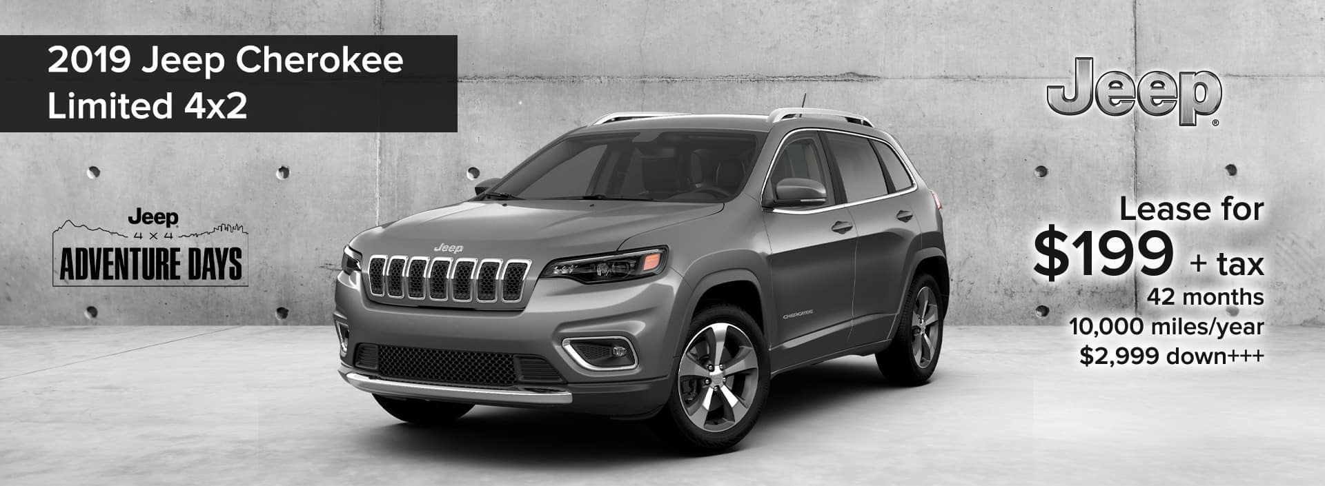 2019 Jeep Cherokee Limited 4x2 Jeep 4x4 Adventure Days Lease deal