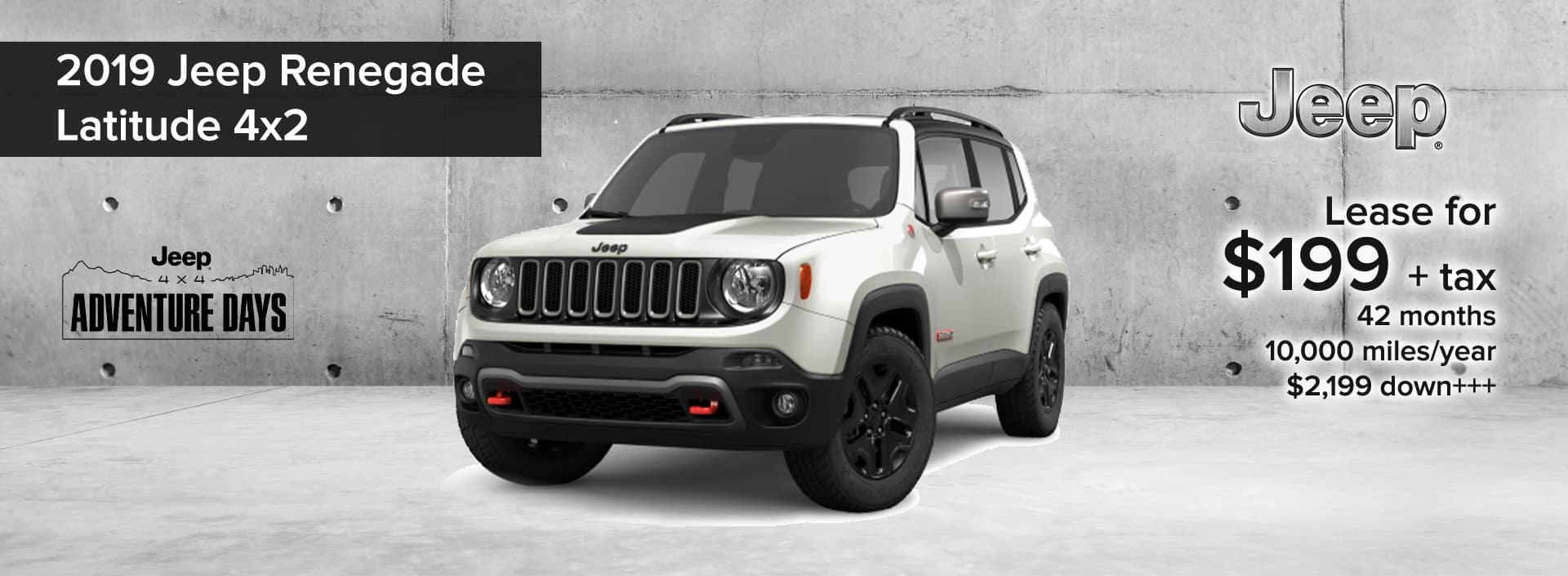 2019 Jeep Renegade Latitude 4x2 Jeep 4x4 Adventure Days Lease Deal