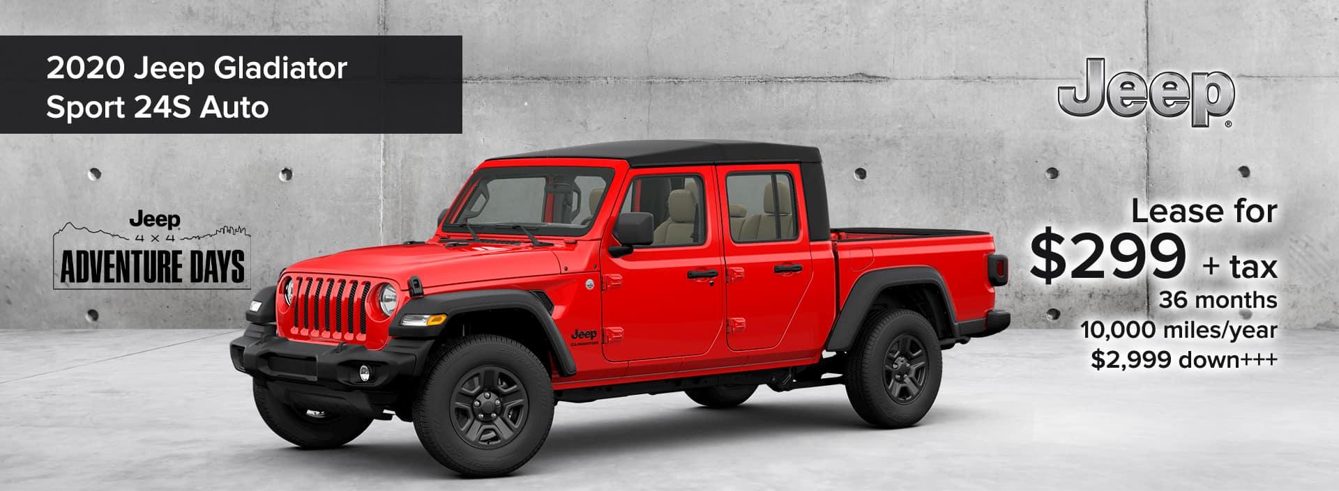 2020 Jeep Gladiator Sport 24S Auto Jeep 4x4 Adventure Days Lease Deal