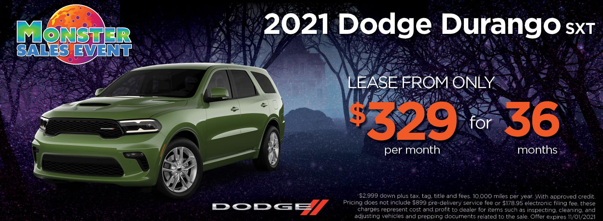 21 Dodge Durango 329 36mos