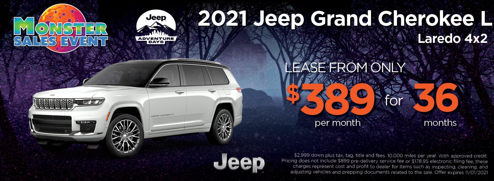 21 Jeep Grand Cherokee L 389 36mos