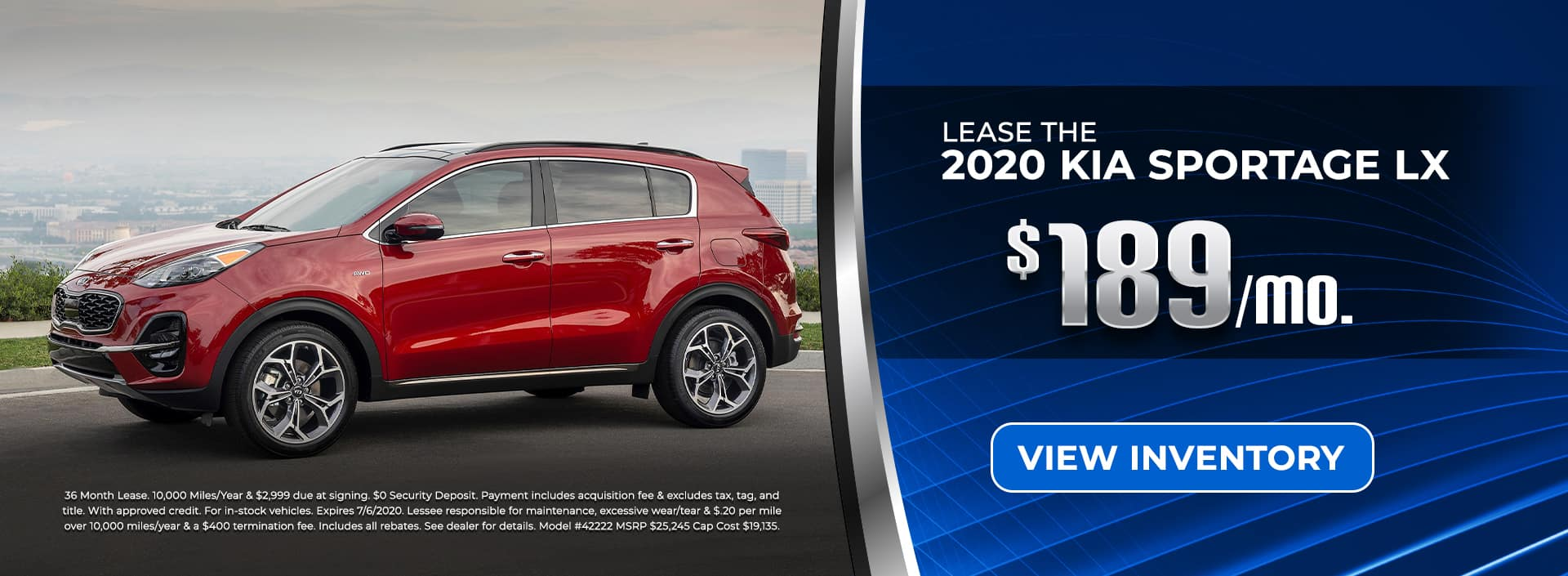 2020 Sportage for $189/mo