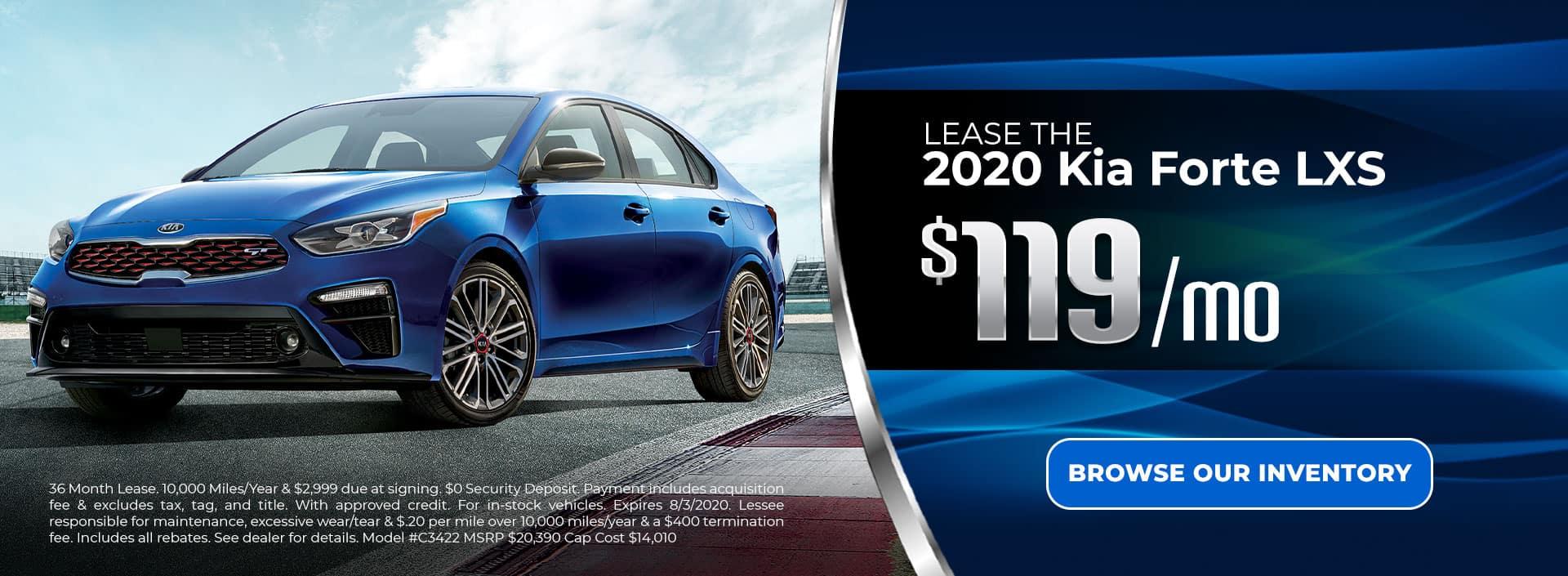 Lease 2020 Kia Forte for $119/mo