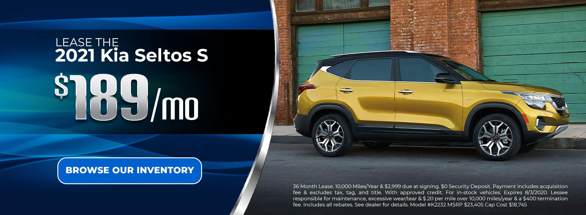 Lease 2021 Seltos S for $189/mo