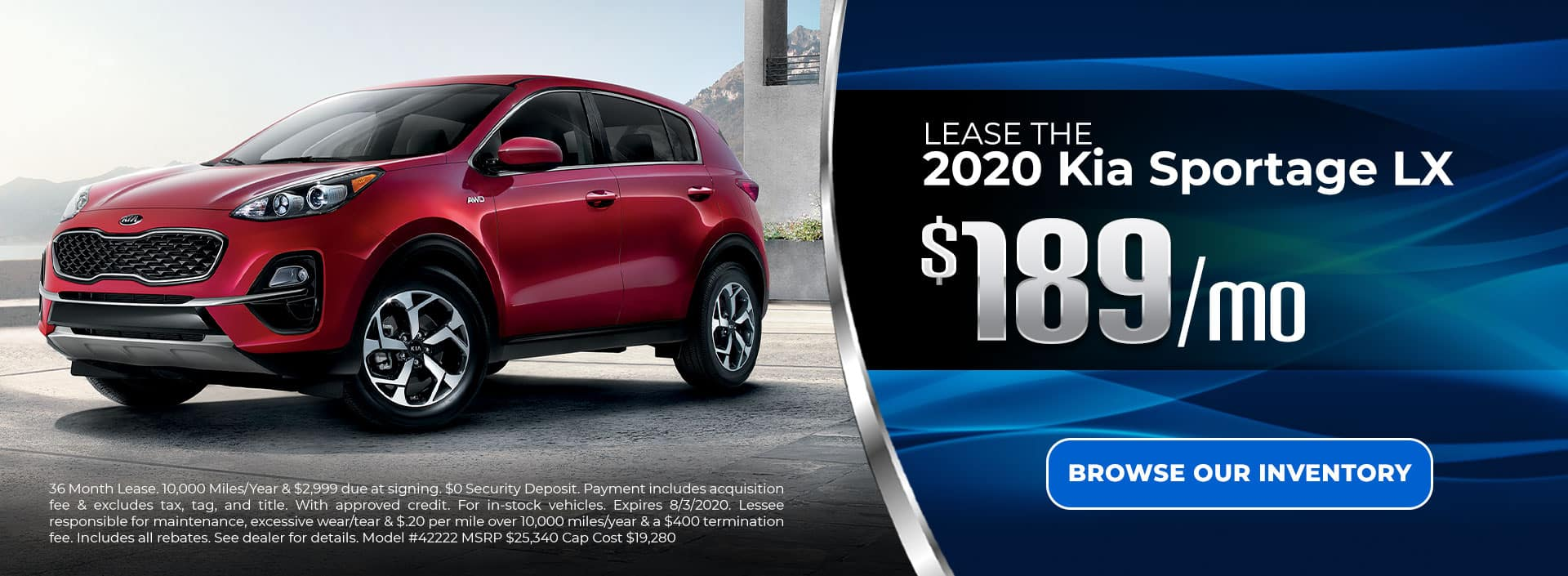Lease 2020 Sportage for $189/mo