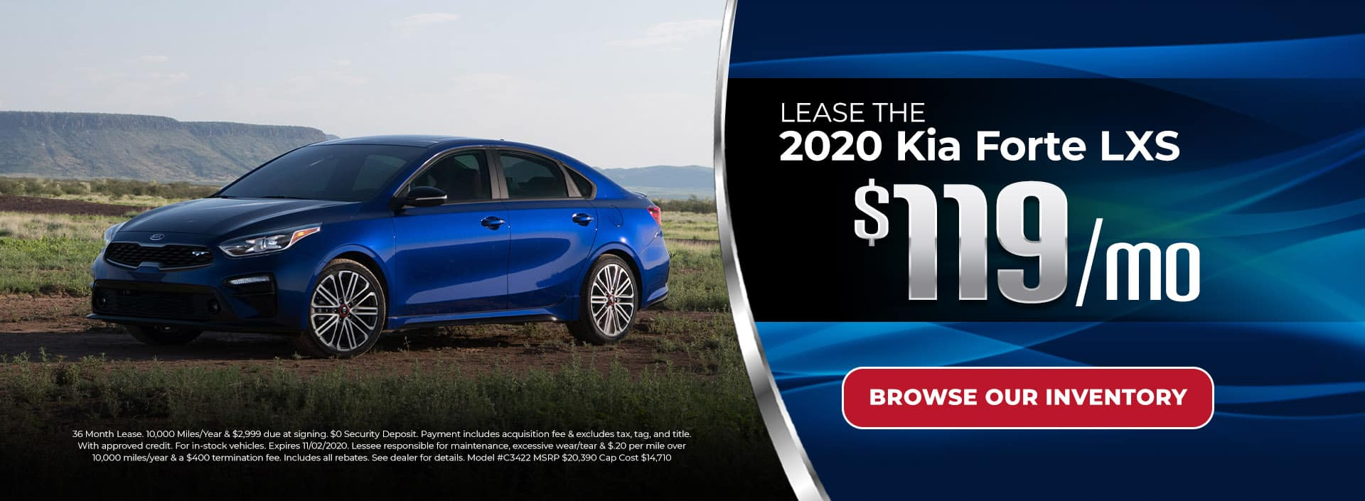 Lease 2020 Kia Forte for $119/mo